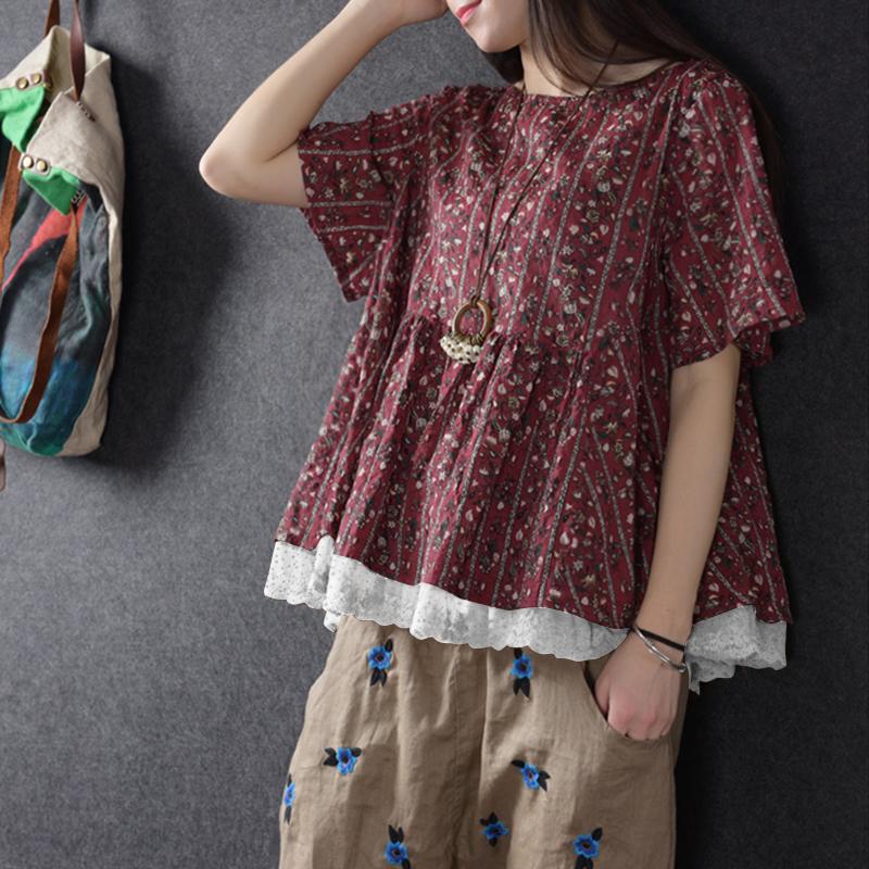 Vintage Women Floral Lace Patchwork Cotton Linen Blouse