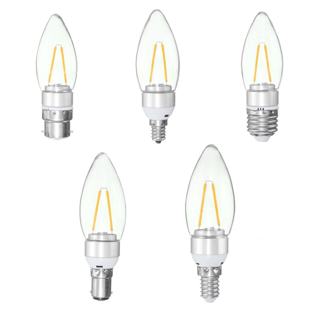 E27 E14 E12 B22 B15 2W Sliver Filament Incandescent Candle