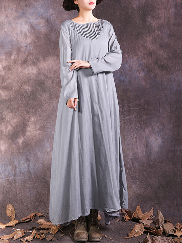 Vintage Pleated Patchwork Long Sleeve Women Maxi Dresses