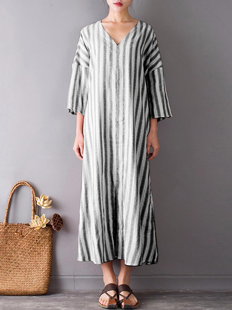 S-5XL Women Stripe V-neck Front Split Mid-long Dresses