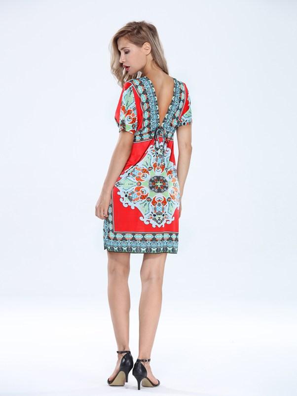 Sexy Women Bohemian Drawstring Deep V Neck Printed Beach Dress