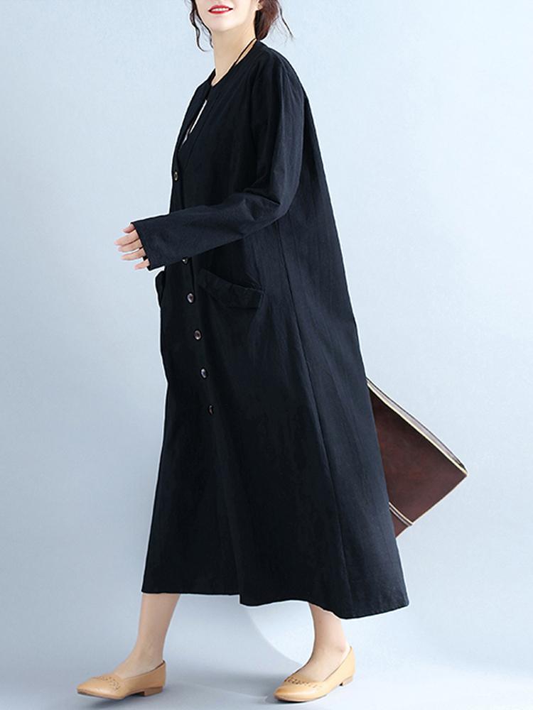 Women V Neck Buttons Open Cardigan Long Sleeve Maxi Dress