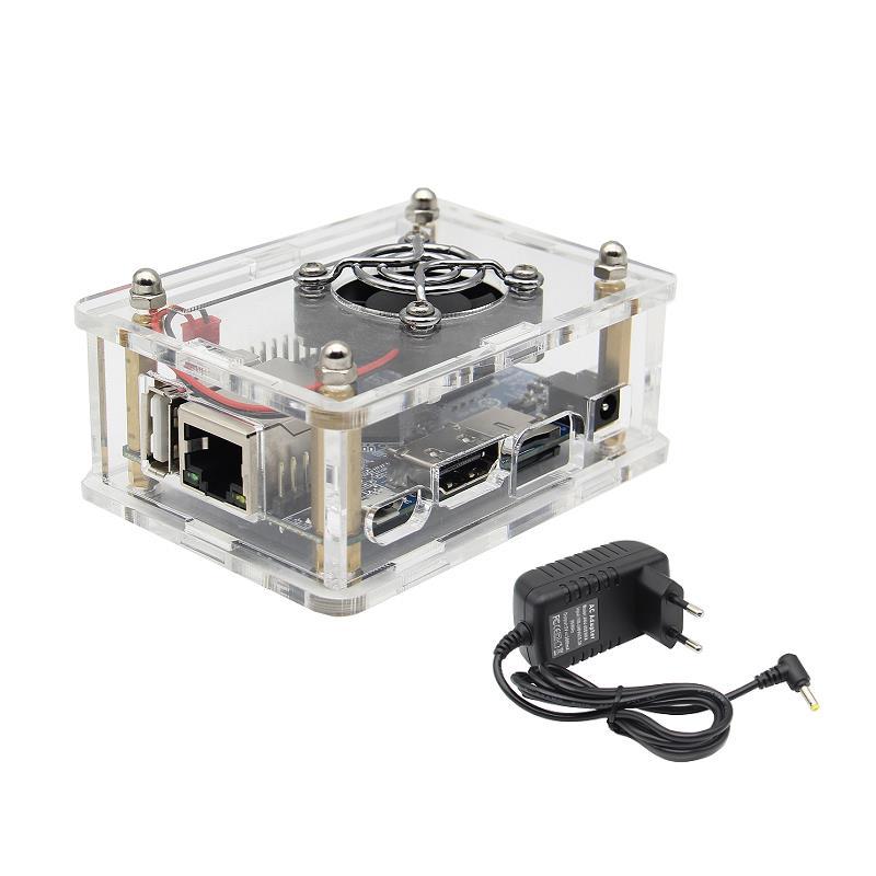 4-in-1 Orange Pi One 512MB H3 Quad-core Development Board + Acrylic Case + Cooling Fan Heat Sink + 5V 3A EU Standard Power Adapter Kit 10