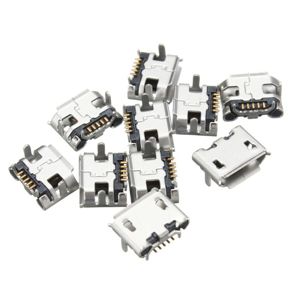 10PCS Micro USB Type B Female 5 Pin Socket PCB Soldering