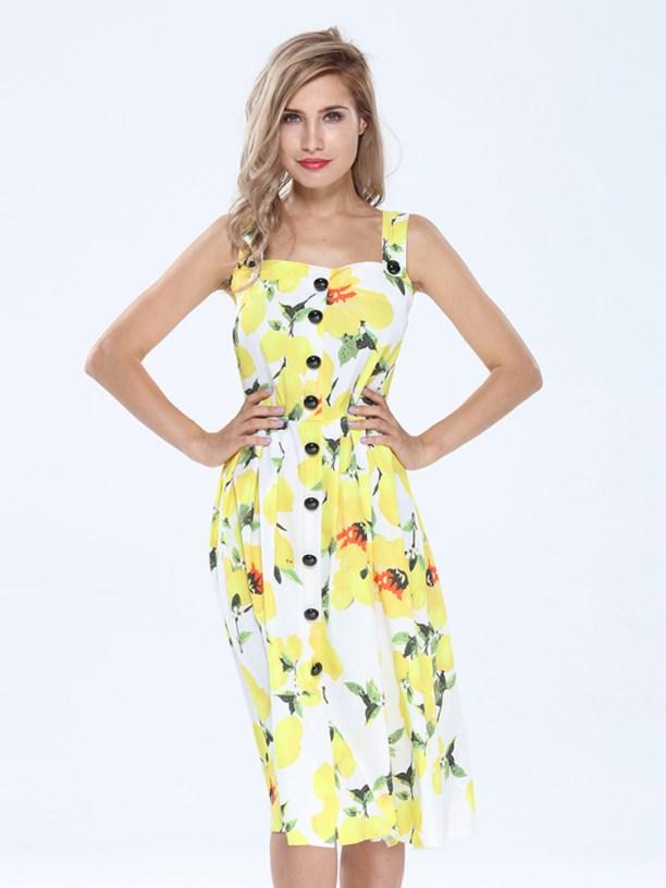 Strap Floral Printed Dress