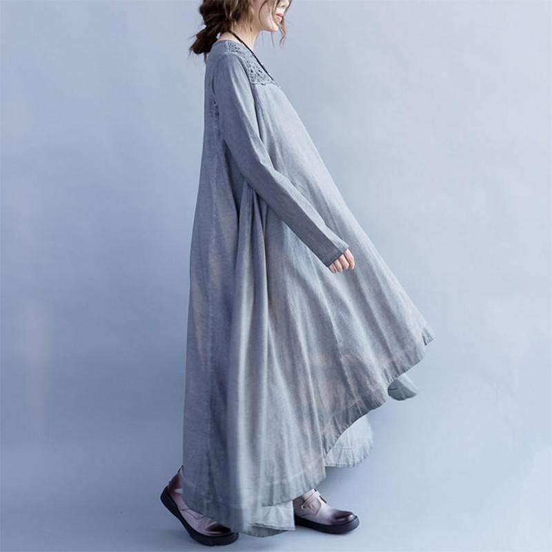 Elegant Women Lace Crochet Patchwork O-Neck Irregular Maxi Swing Dress
