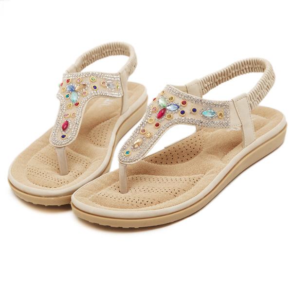 Rhinestone Bohemian Beach Flip Flops Slip-on Peep Toe Flat Sandals Slippers