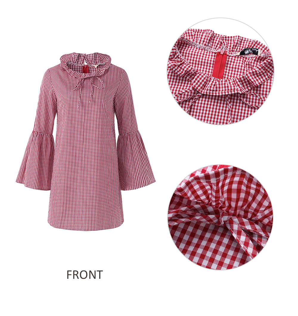 Women Casual Plaid Flare Sleeve Shirt Mini Dresses
