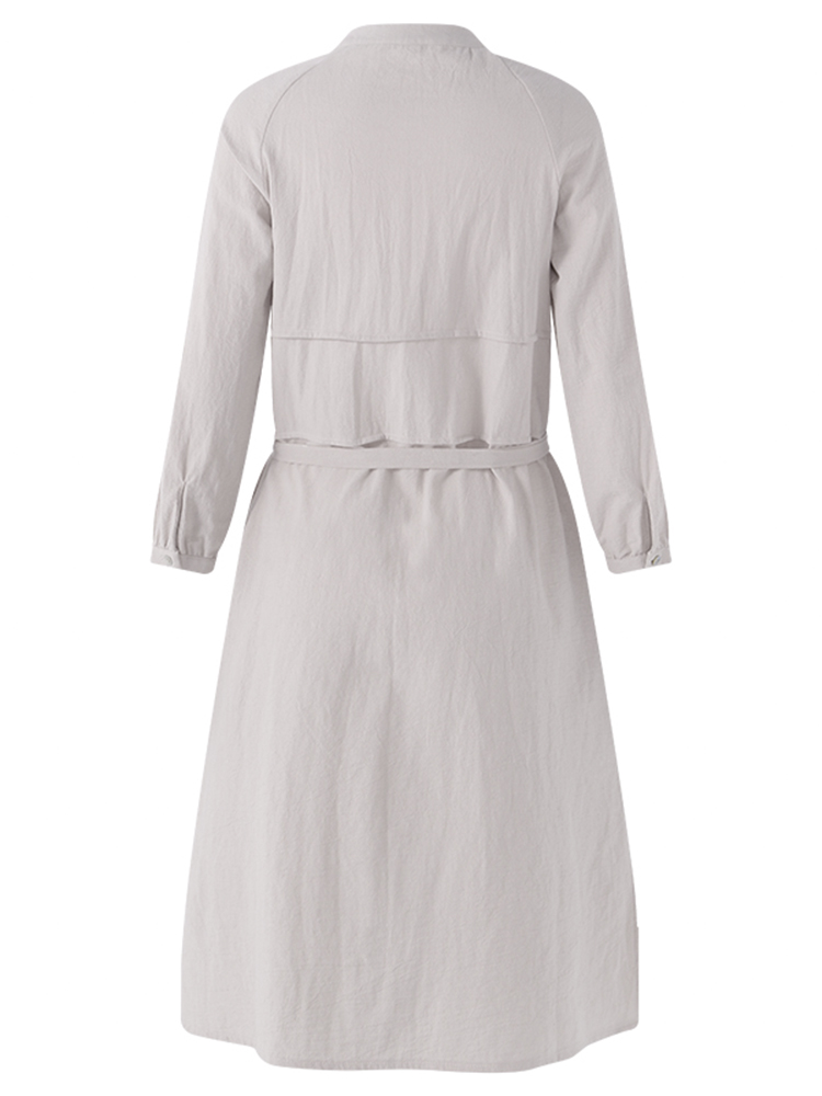 Casual Women Side Slit Crew Neck Button Down Shirt Dress with Pocket