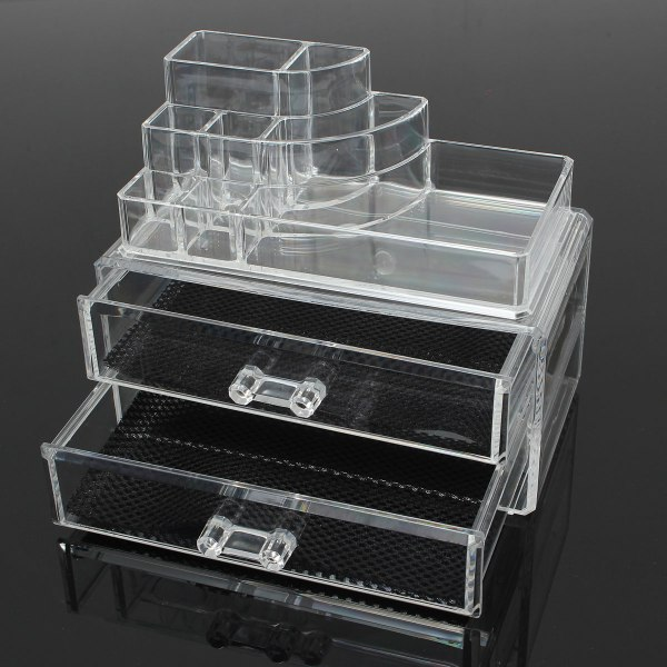 2 Drawer Clear Acrylic Cosmetic Organizer Storage Container Brushes Holder Table Banggood