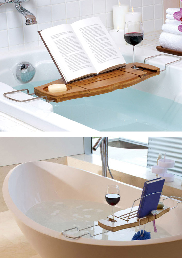 Bamboo Bathtub Caddy Tray with Adjustable Holder Bathroom Spa ...