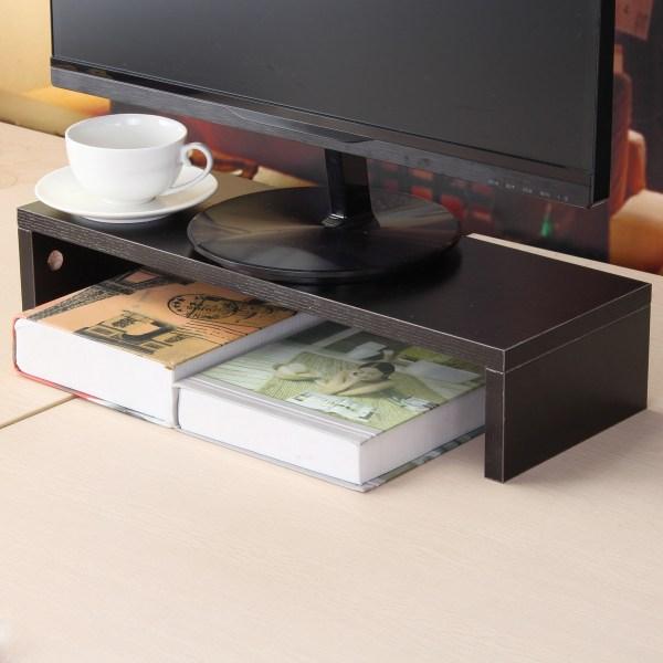 Black White Wooden Monitor Stand Computer Riser