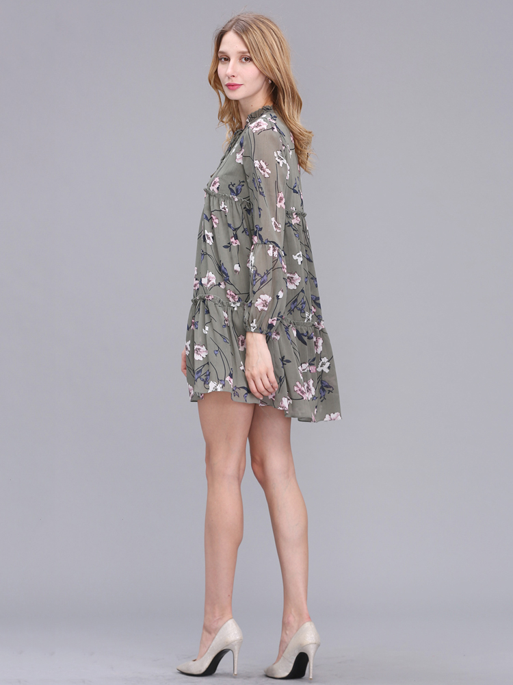 Casual Women Printing Chiffon Long Sleeve Slim Dress
