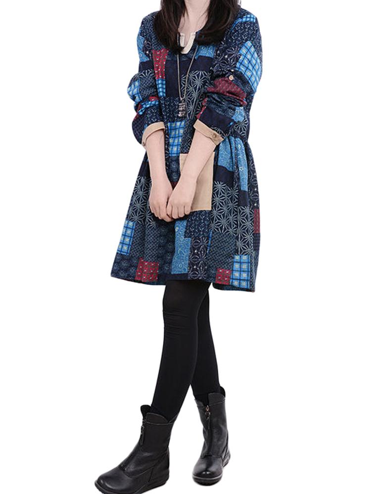 Vintage Women Plaid Color Block Printed Cotton Linen Dress