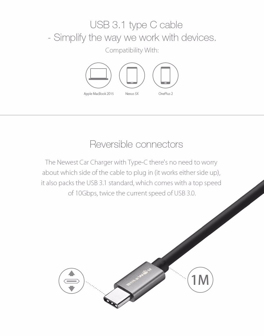 BlitzWolf® BW-C3 5V 5.4A 27W USB Type C 3A Car Charger