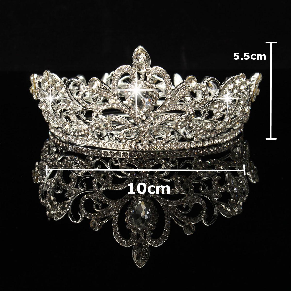 Bride Gold Silver Rhinestone Crystal Crown Tiara Head