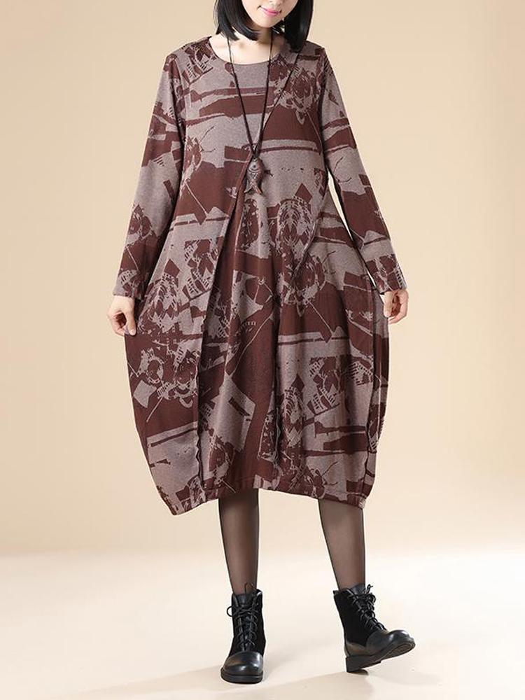 Celmia Women Printing Pleated Pockets Long Sleeve Dress