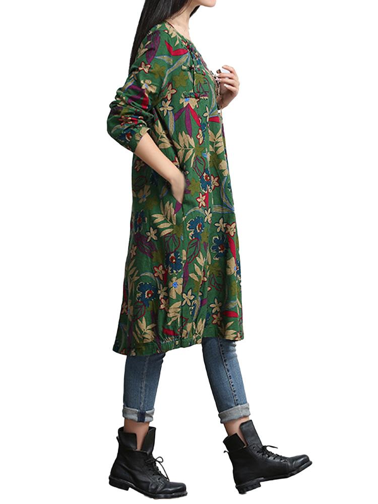 Green Button Vintage Linen Women Dress
