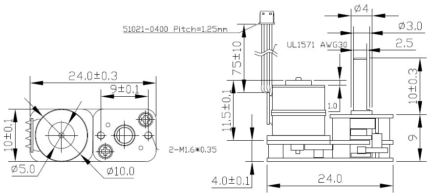 CHIHAI MOTOR DC 5V Brushless Motor 2 Phase 4 Wire Stepper