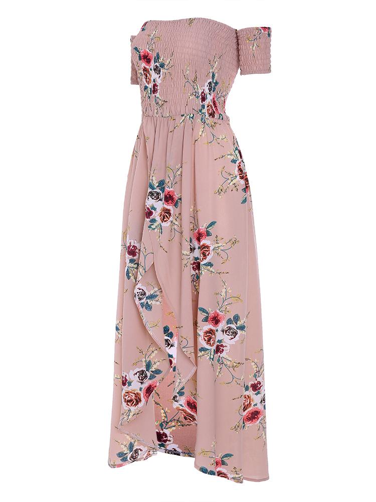 Sexy Off Shoulder Floral Print Front Split Beach Maxi Dresses