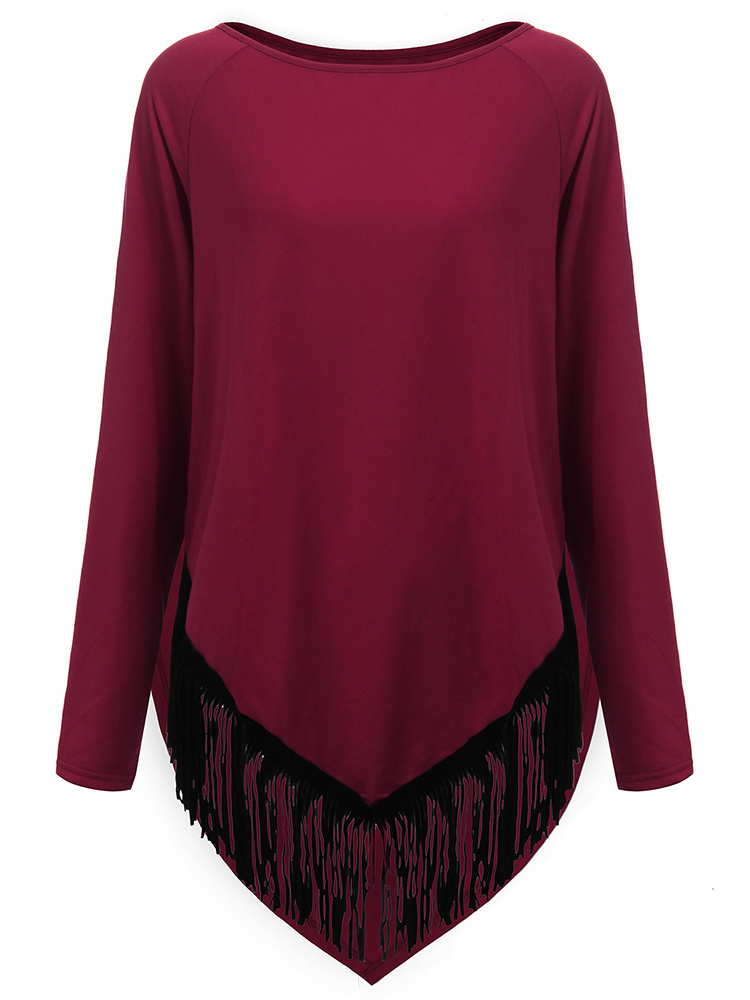 Loose Women Tassels Stitching Irregular Hem T-shirt