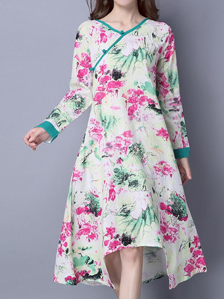Ethnic Women Printed Plate Buckle Loose Vintage Irregular Dresses