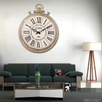Large Round Vintage Pocket Watch Style Roman Numerals Wall ...