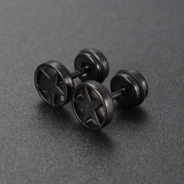 Stainless Steel Star Screw Ear Stud Earrings Jewelry