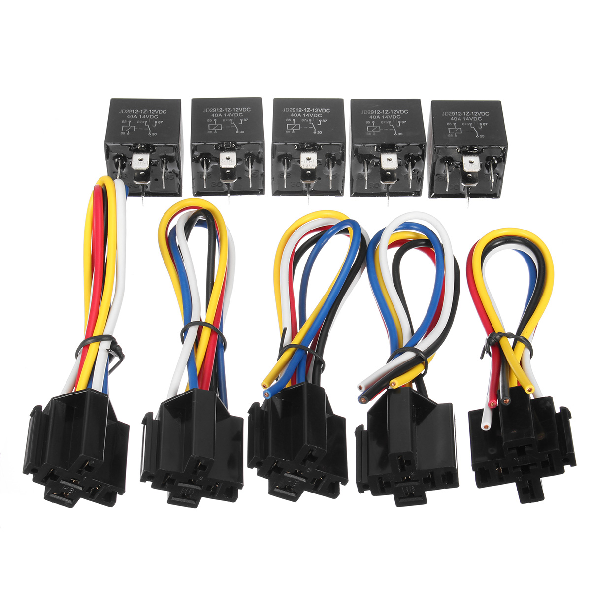 12v 30a relay 4 pin wiring diagram audio connector 10pcs dc 5pin interlocking sockets wires