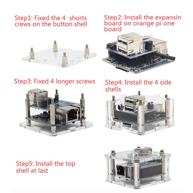Acrylic Transparent Case Shell For Orange Pi Zero / Zero With Expansion Board 11