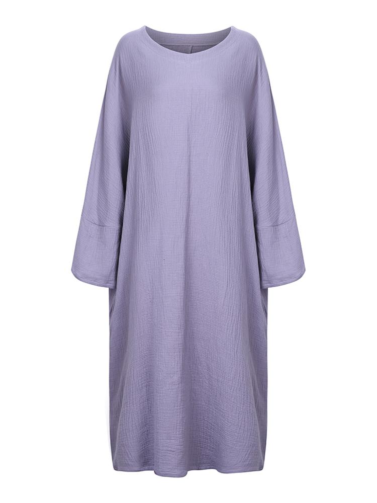 Casual Brief Pure Color Loose Robe Women O-Neck Long Sleeve Maxi Dress