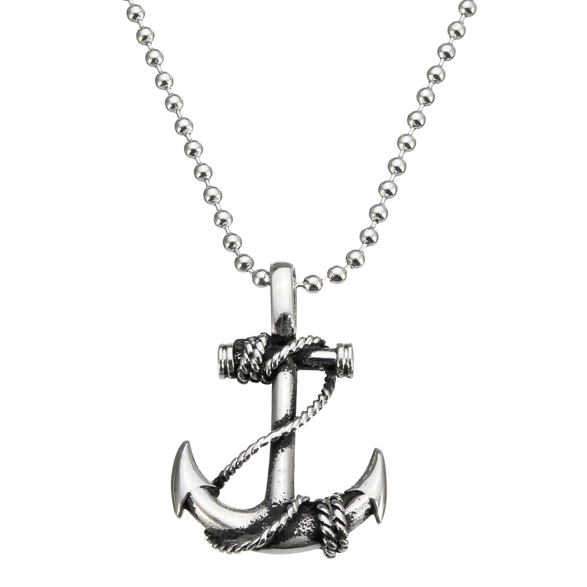 Vintage Stainless Steel Boat Anchor Pendant Men Silver