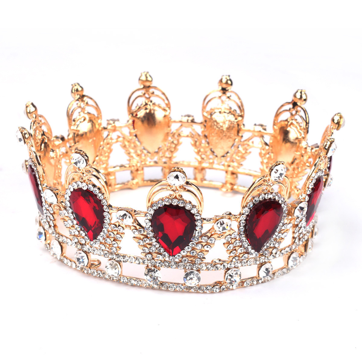Bride Ruby Red Sparkling Crystal Rhinestone Crown Gold