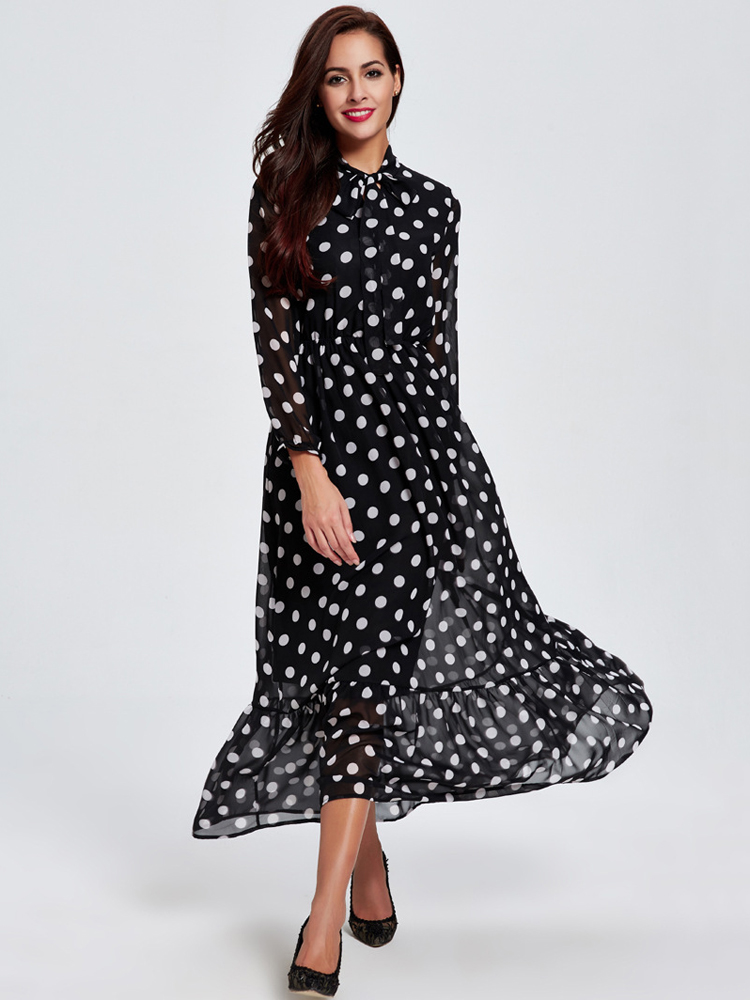Women Elegant Chiffon Bow Polka Dot Long Sleeve Dress