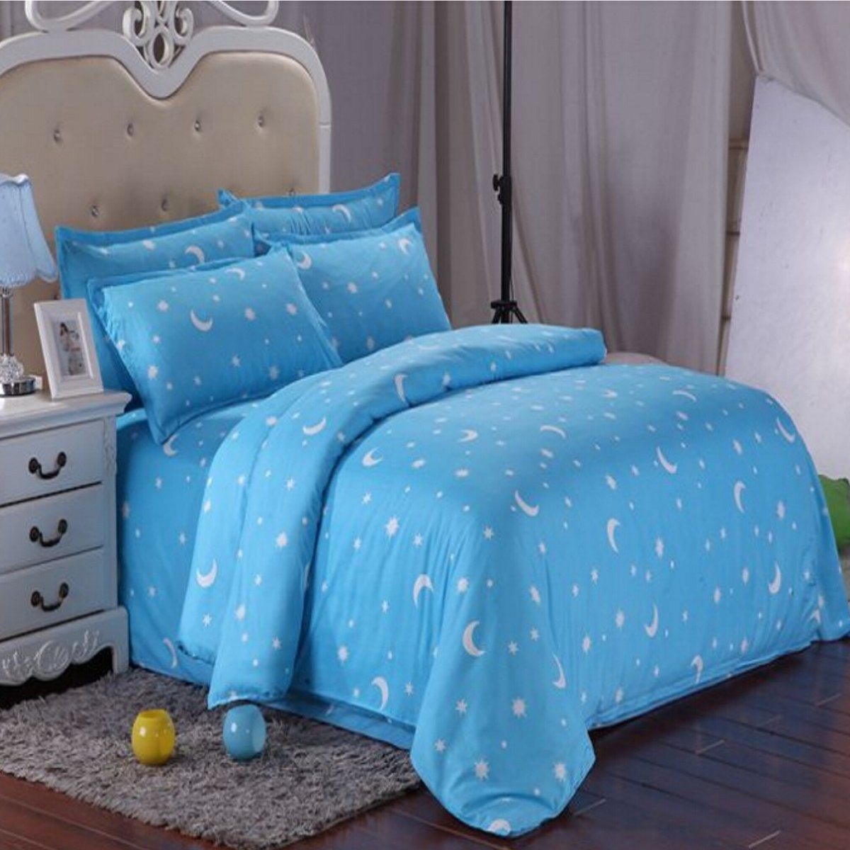 Cotton Blue Stars Moon Printing Bedding Set Bed Sheet