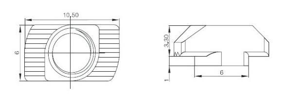 M4 Carbon Steel T-Nut T Fastener Sliding Nut