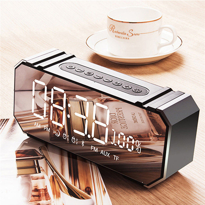 Wireless Bluetooth 4.2 Speaker Subwoofer Dual Clock Setting Support FM TF USB Handfree Call 10