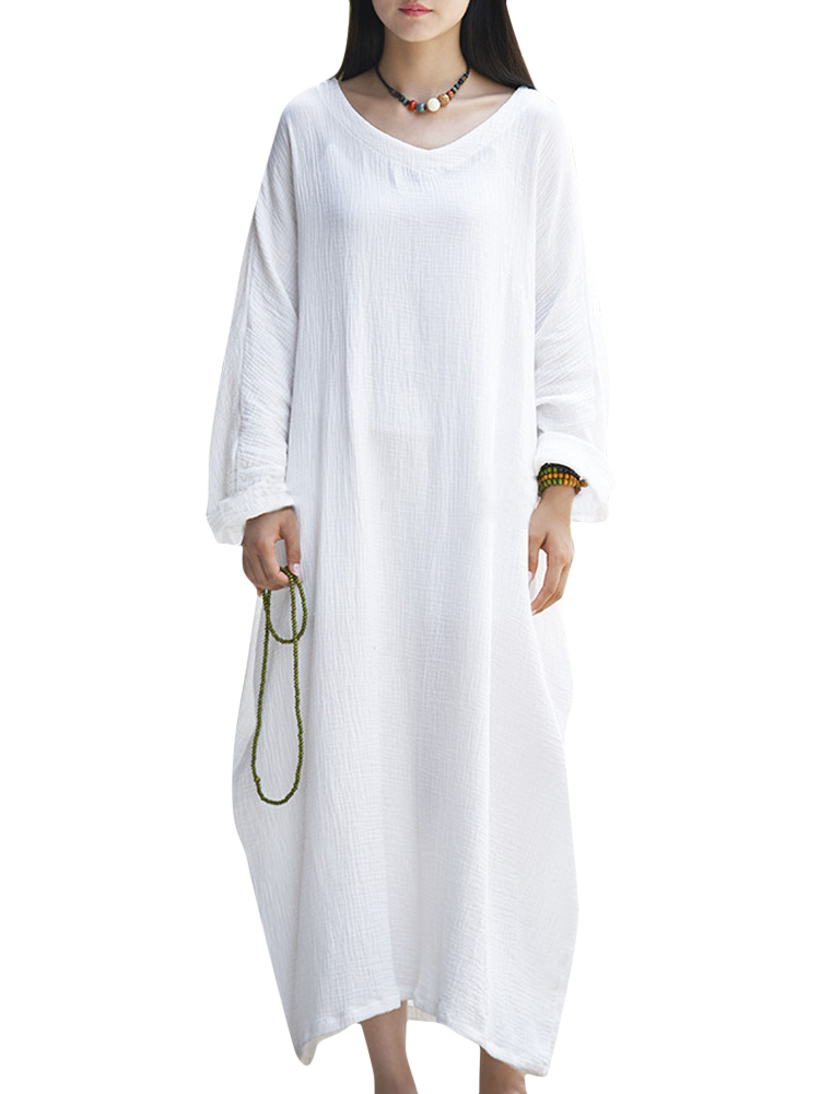 Casual Brief Solid Color Long Sleeve Baggy Dress For Women