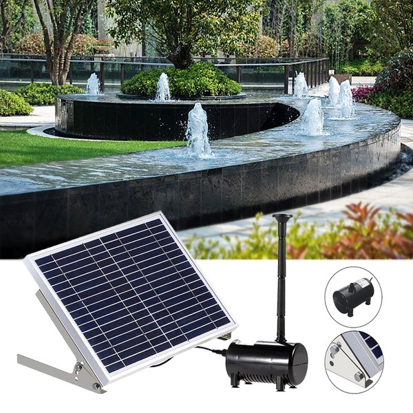 Solar Panel Powered Brushless Water Fountain Pump Pond Garden Outdoor Submersible Kit