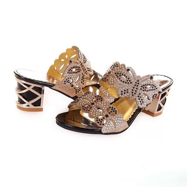 Summer Chic Beach Sandals Slip On Platform Slippers Butterfly Rhinestone Sandals