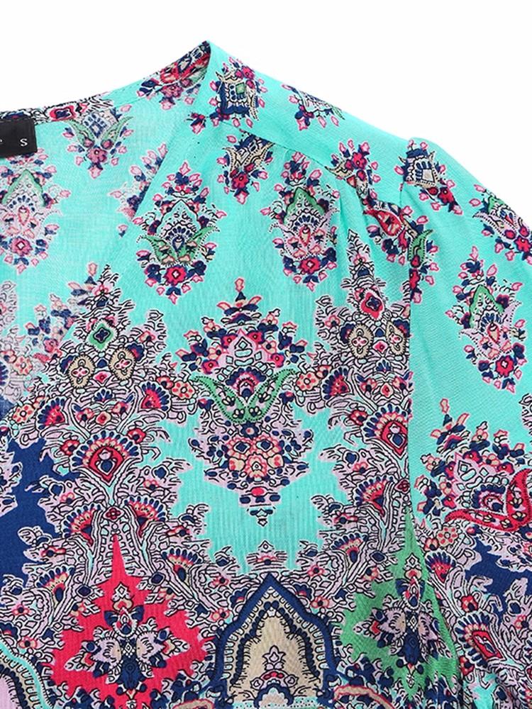 Retro Floral Printed V-neck Bohemian Beach Maxi Dresses For Women