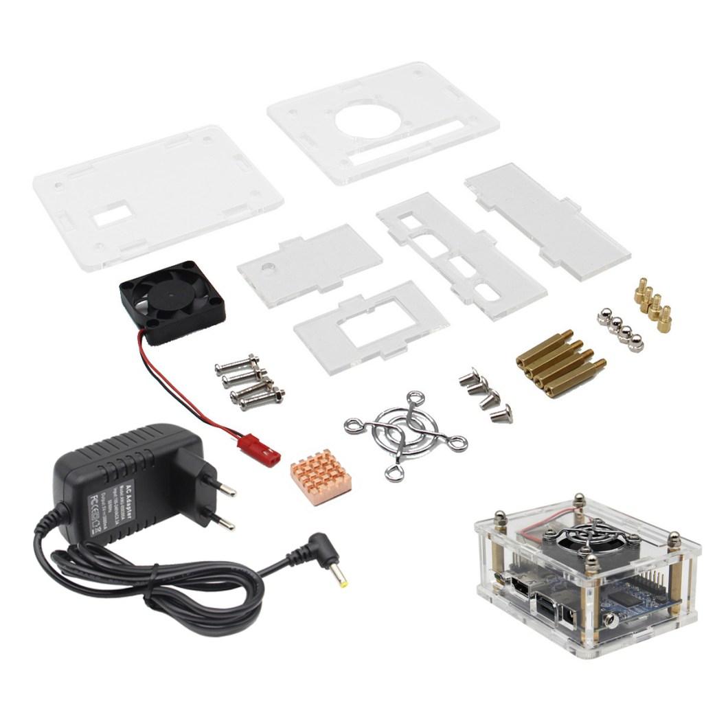 4-in-1 Orange Pi One 512MB H3 Quad-core Development Board + Acrylic Case + Cooling Fan Heat Sink + 5V 3A EU Standard Power Adapter Kit 13