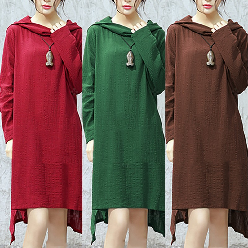 M-5XL Casual Women Hooded Long Sleeve Pure Color Asymmetrical Dress