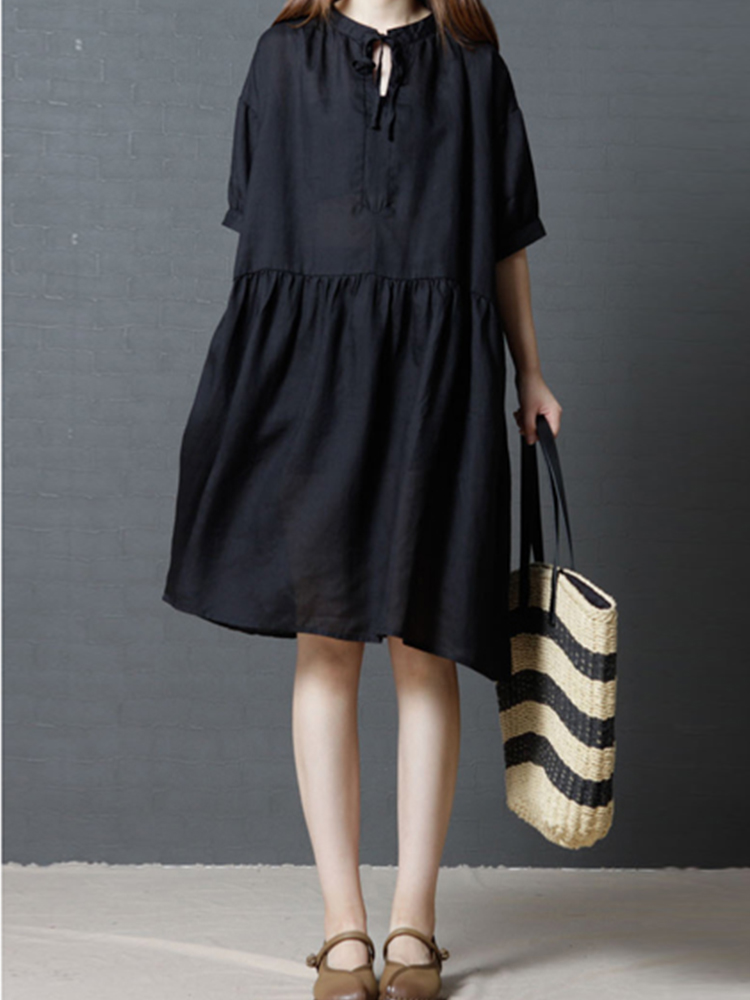 Casual Short Sleeve Loose O-neck Women Dress