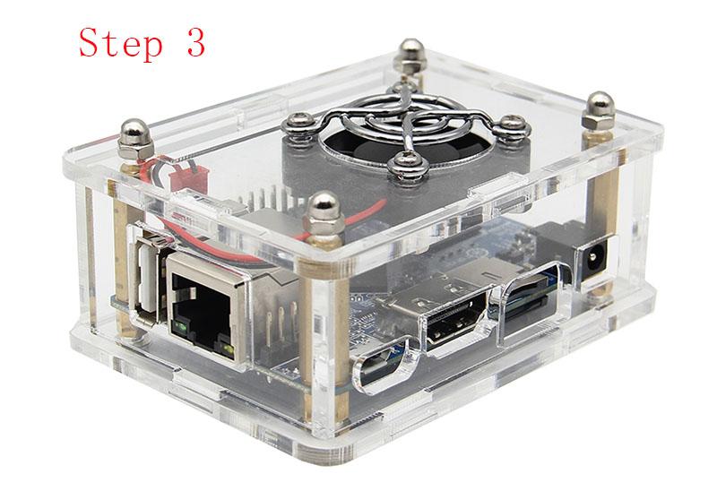 3-in-1 Orange Pi One  512MB H3 Quad-core Development Board + Acrylic Case + Cooling Fan Heat Sink 14