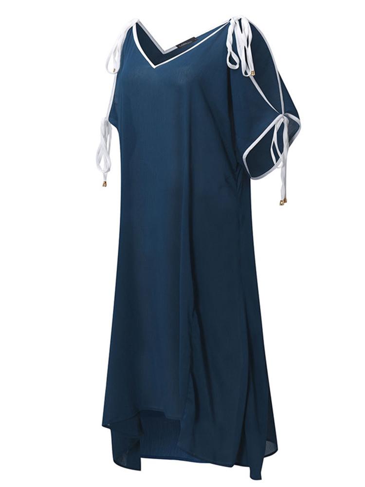 Chiffon Women V-Neck Off Shoulder Irregular Beach Maxi Dresses