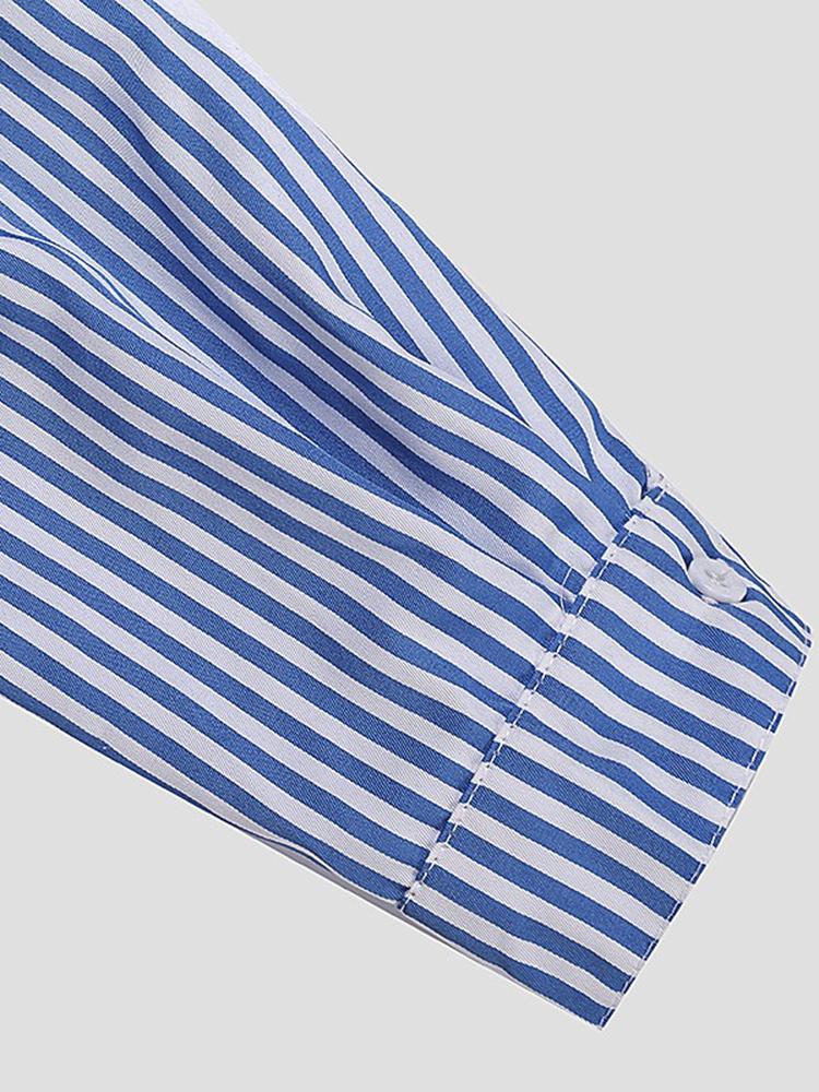 Casual Women Turndown Collar Adjustable Sleeve Side Split Striped Shirt Dresses