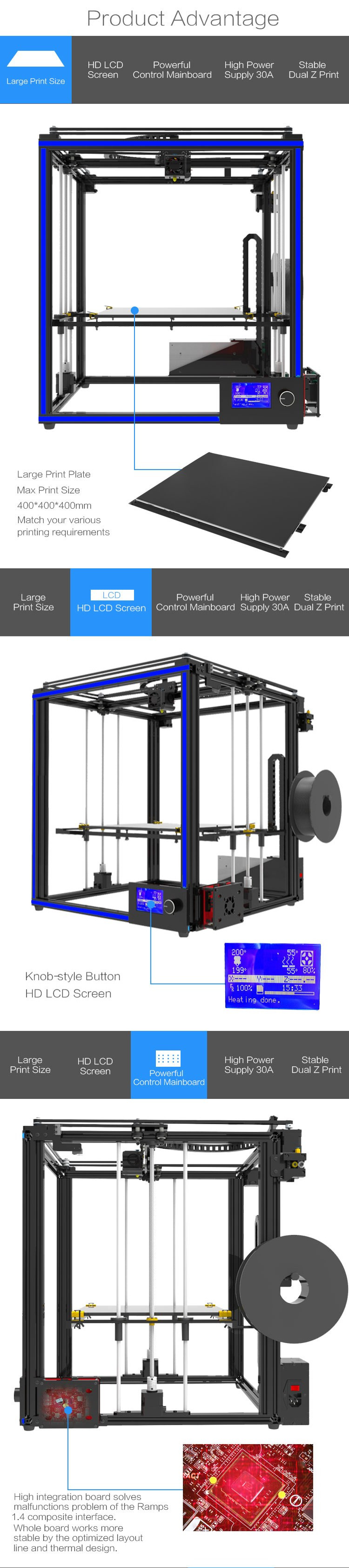TRONXY® X5S-400 DIY Aluminum 3D Printer Kit 400*400*400mm Large Printing  Size With Dual Z-axis Rod/HD LCD Screen/Double Fan 1 75mm 0 4mm Nozzle
