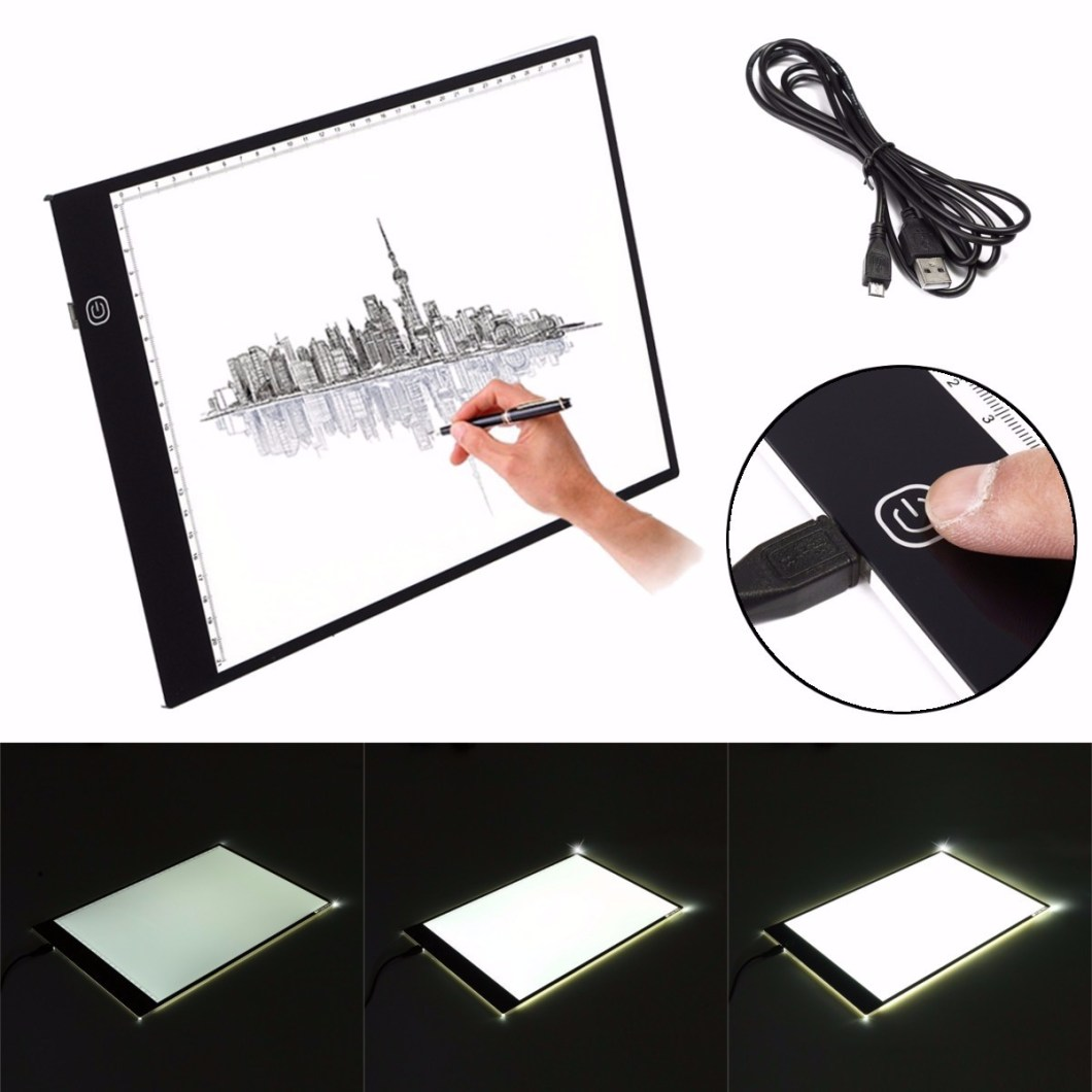 M.Way Ultra Thin A2 A3 LED Copy With USB Cable Adjustable Brightness Drawing Pad Copy board 10