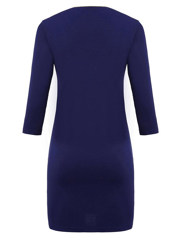 Women Navy Three Quarter Sleeve Solid Dress
